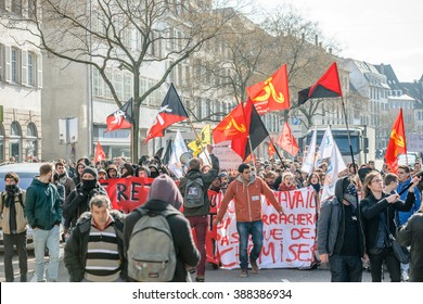 STRASBOURG, FRANCE - 9 MAR 2016: Closed city center as thousands of people demonstrate as part of nationwide day of protest against proposed labor reforms by Socialist Government