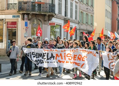 STRASBOURG, FRANCE - APR 20, 2016: Closed central street as hundreds of people demonstrate as part of nationwide day of protest against proposed labor reforms by Socialist Government