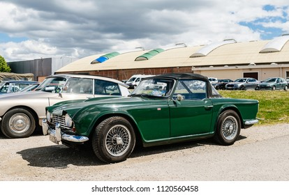STRASBOURG, FRANCE - APR 30, 2018: Beautiful Triumph Spitfire 4 MK2 1965 Green parked on the street on a sunny day