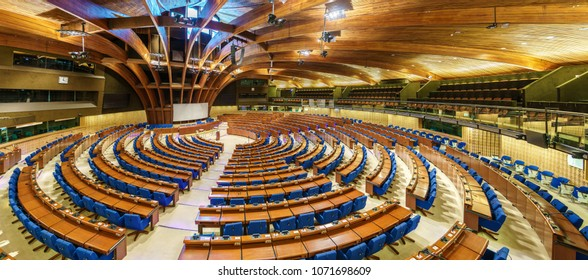 Strasbourg, France - April 13, 2018: the Hemicycle of the Parliamentary Assembly of the Council of Europe, PACE. The CoE is an organisation whose aim is to uphold human rights, democracy and the rule