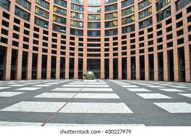STRASBOURG, FRANCE - APRIL 22, 2012: Exterior of European Parliament (Louise Weiss building, 1999) in Wacken district of Strasbourg. It is one of biggest and most visible buildings of Strasbourg.