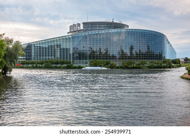 Strasbourg, France - August 10, 2014: Exterior of European Parliament (Louise Weiss building, 1999) in Wacken district of Strasbourg. It is one of biggest and most visible buildings of Strasbourg.