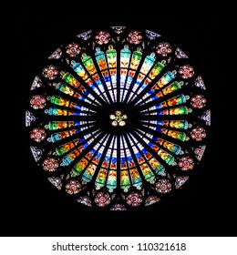 STRASBOURG, FRANCE - AUGUST 14, 2010:  Rose window in the Cathedral interior. Diameter of the west fasade decoration is 13.6 m.