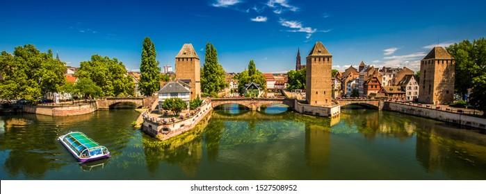 STRASBOURG, FRANCE - August 2019 - Medieval bridge Ponts Couverts, Barrage Vauban, Strasbourg, Alsace, France, Europe.