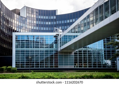 STRASBOURG, FRANCE - AUGUST 8, 2017: Exterior of European Parliament (Louise Weiss building, 1999) in Wacken district of Strasbourg. It is one of biggest and most visible buildings of Strasbourg. Fran