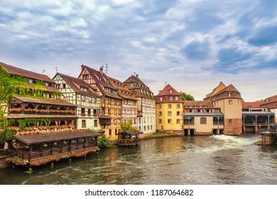 Strasbourg France, Colorful Half Timber House city skyline