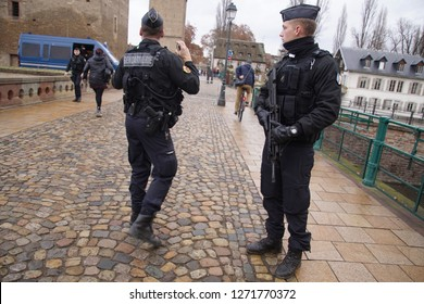 STRASBOURG, FRANCE - DEC 20, 2018 - Gendarme police with automatic weapons on patrol a few days after a terrorist attack in Strasbourg, France