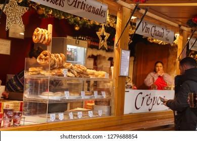 STRASBOURG, FRANCE - DEC 20, 2018 - Fresh baked pretzels at the Christmas market,Strasbourg, France
