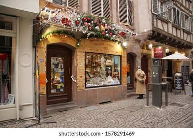 STRASBOURG, FRANCE - DEC 20, 2018 - Decorations on the buildings along street in Christmas market,Strasbourg, France