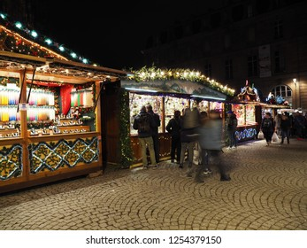 STRASBOURG, FRANCE - DECEMBER 08 2018: People visiting the famous Christmas market of Strasbourg Alsace France