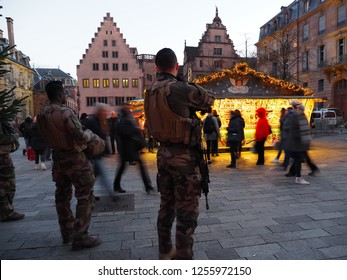 STRASBOURG, FRANCE - DECEMBER 11 2018: Soldier at the Christmas market of Strasbourg minutes before the terror attacks.