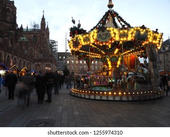 STRASBOURG, FRANCE - DECEMBER 11 2018: Peaceful Strasbourg Christmas market minutes before the terror attacks