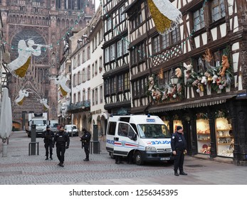 STRASBOURG, FRANCE - DECEMBER 12 2018: Streets of Strasbourg France after the terrors attacks