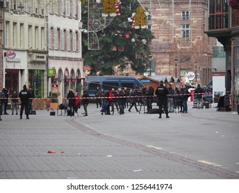 STRASBOURG FRANCE - DECEMBER 12 2018: Street of Strasbourg France the morning after the terror attacks which killed three people on the 12-11-2018