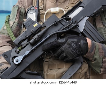 STRASBOURG, FRANCE - DECEMBER 12 2018: close up of law enforcement weapons in Strasbourg France on the day after the terror attacks