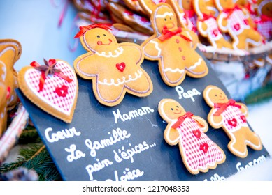 Strasbourg, France - December 2017: Marche de Noel gingerbread decorations in Strasbourg, Christmas Market in Alsace.