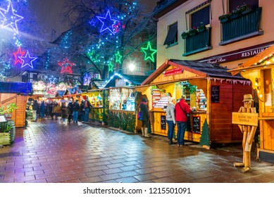 Strasbourg, France - December 2017. Place des Meuniers Christmas market in Capitale de Noel, Alsace.