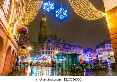Strasbourg, France - December 2017. Place Gutenberg Christmas market in Capitale de Noel, Alsace.
