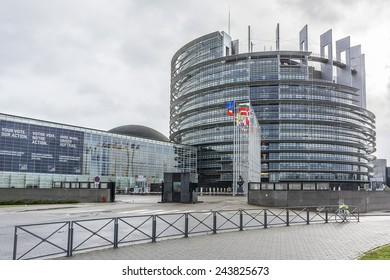 STRASBOURG, FRANCE - DECEMBER 21, 2014: Exterior of European Parliament (Louise Weiss building, 1999) in Wacken district of Strasbourg. It is one of biggest and most visible buildings of Strasbourg.