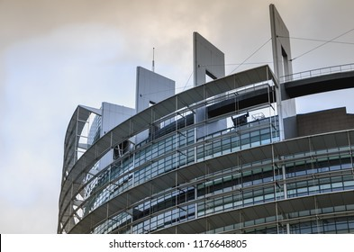 Strasbourg, France - December 28, 2017: Architectural detail of the Louise-Weiss building on a winter day, seat of the Parliament of the European Union it was inaugurated on December 14, 1999