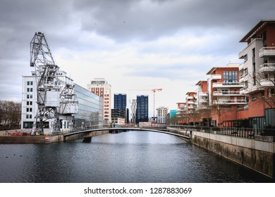 Strasbourg, France - December 28, 2017 - architectural detail of a new district of the city Austerlitz basin with its media library and renovated cranes on a winter day