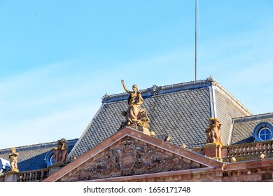 Strasbourg, France. Elements of the Aubette building. Historic building on Kleber Square in Strasbourg, France. It was built by Jacques-Francois Blondel in 1765-1772