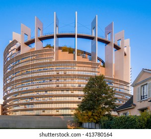 Strasbourg, France, Europe - 15 SEP 2015: Strasbourg is the official seat of European Union (EU) Parliament. Louise Weiss building at sunset against blue sky.