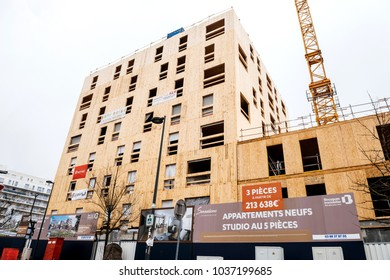 STRASBOURG, FRANCE - FEB 18, 2018: Construction site of wooden high rised appartment building in Strasbourg