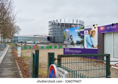 STRASBOURG, FRANCE - FEB 4, 2016: Construction site in front of European Parliament in Strasbourg, France in the new Wacken Europe district