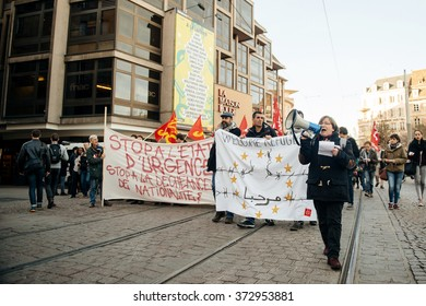 STRASBOURG, FRANCE - FEB 6, 2016: Protesters marching during a demonstration against government's plan to extent the 'state of emergency' and for opened borders - holding welcome refugees banners