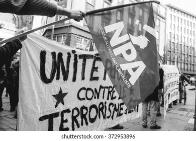 STRASBOURG, FRANCE - FEB 6, 2016: Protesters marching during a demonstration in city center against government's plan to extent the 'state of emergency' and for opened borders