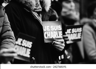 STRASBOURG, FRANCE - JAN 09, 2015: Council of Europe employees and Thorbjorn Jagland - Secretary General of the CE attend to a silent vigil to condemn the gun attack at French magazine Charlie Hebdo