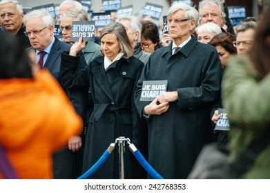 STRASBOURG, FRANCE - JAN 09, 2015: Council of Europe employees and Thorbjorn Jagland - Secretary General of the CE attend to a silent vigil to condemn the  attack at satirical magazine Charlie Hebdo
