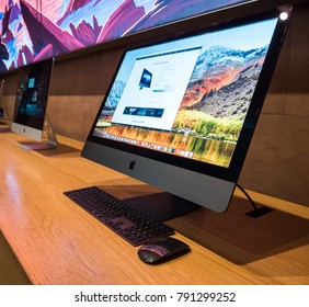 STRASBOURG, FRANCE - JAN 11, 2018: New iMac Pro the all-in-one personal computer in Apple Computers Store. Apple claims the iMac Pro is the most powerful Mac ever made