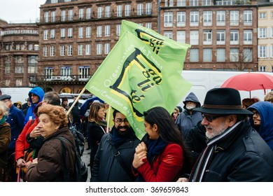 STRASBOURG, FRANCE - JAN 30, 2016: Protesters gathered at Kleber Square protesting government's plan of the extension of the 'state of emergency' for another three months Organisation of Equal Womens