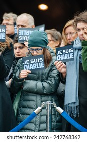 STRASBOURG, FRANCE - JANUARY 09, 2015: Council of Europe employees attend to a silent vigil to condemn the gun attack magazine Charlie Hebdo office in Paris, which killed 12 people on January 7, 2015