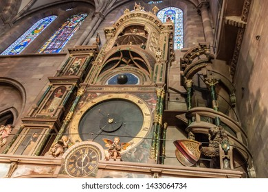 STRASBOURG, FRANCE - JANUARY 18, 2015: Astronomical clock in the Cathedral of Our Lady of Strasbourg in Strasbourg, France