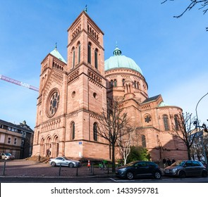 STRASBOURG, FRANCE - JANUARY 18, 2015: Saint-Pierre-le-Jeune Catholic Church in Strasbourg, France