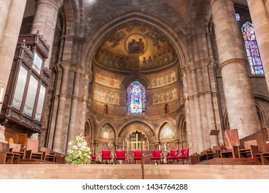 STRASBOURG, FRANCE - JANUARY 18, 2015: Interior of the Cathedral of Our Lady of Strasbourg in Strasbourg, France
