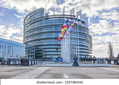 STRASBOURG, FRANCE - JANUARY 2, 2019: Strasbourg European Parliament building (1999) in Wacken district. European Parliament is one of biggest and most visible buildings of Strasbourg.