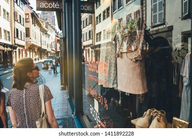 b9fdb12a425 Strasbourg, France - Jul 22, 2017: Rear view of beautiful young woman in