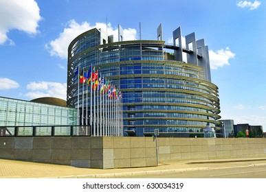 STRASBOURG, FRANCE - JULY 14, 2015: Flags of European Union countries before the European Parliament building in Strasbourg