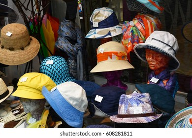 Strasbourg, France - july 22 2016 : a hat shop in the city center