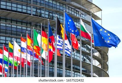 Strasbourg, France, July 3, 2019: European Parliament in Strasbourg, France