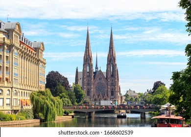 Strasbourg, France - July 5, 2019: St. Paul's Church. Ile River