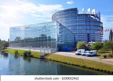 STRASBOURG, FRANCE - JULY 7: European parliament building, on July 7. 2017 in Strasbourg, France