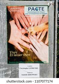 STRASBOURG, FRANCE - JUN 10, 2017: Political posters advertising of Elections legislatives francaises de 2017 French legislative election of Parti Antispeciste