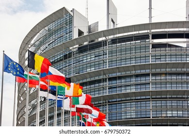 Strasbourg, France - June 15, 2010: European Parliament building with the flags of the Member States
