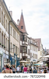 STRASBOURG, FRANCE -June 17, 2017 : Street view of Traditional houses in Strasbourg,  Alsace. is the official seat of the European Parliament, Located close to the border with Germany