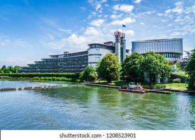 Strasbourg, France - June 2018: European Court of Human Rights located in the European Quarter, designed by the Richard Rogers Partnership and Claude Buche and completed in 1994.